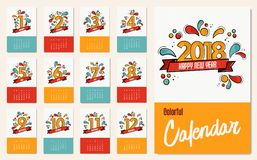 New year 2018 colorful calendar template set. New Year 2018 calendar template with monthly planner set and flat line art numbers for each month event. EPS10 Royalty Free Stock Photography