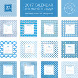 New year calendar template. 2017 new year calendar, one month in a page. Vector template in a page, square format. Seamless pattern on background. Blue and white Royalty Free Stock Image
