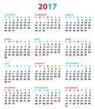 2017 New Year Calendar USA Stock Photos