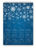 New Year Calendar. Calendar for New 2015 year -  vector design template in a3-a4 poster size proportion with snowflakes design Stock Photos