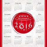 2016 new year calendar. Vector illustration Stock Image