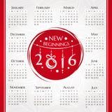 2016 new year calendar Stock Image