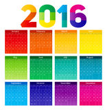 New Year Calendar 2016 Vector Illustration Stock Images