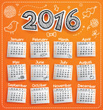 New Year 2016 calendar. Vector template for New Year 2016 calendar Stock Photo