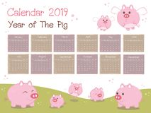 the New year 2019 Calendar.Year of the Pig. stock illustration