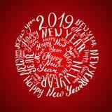2019 New Year. Calligraphic inscription. Vector illustration Red background vector illustration