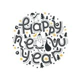 Happy New Year. Lettering phrase Merry And Bright. Modern lettering for cards, posters, t-shirts, etc. with hand drawn elements. royalty free illustration