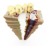 New year 2016 and Canadian dollar stack Stock Image