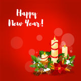 New Year candle arrangement greeting card Stock Image