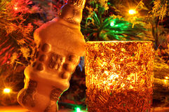 New-year candle and fir-tree toy Royalty Free Stock Photo