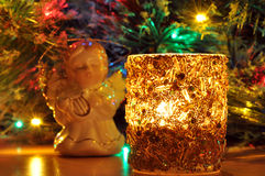 New-year candle and fir-tree toy Royalty Free Stock Image