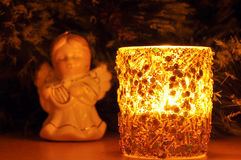 New-year candle and fir-tree toy Stock Photo