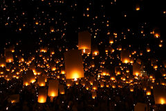New Year candles lantern balloon traditional Stock Photo