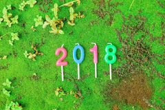 New year 2018 Candles Numeric text Stock Image