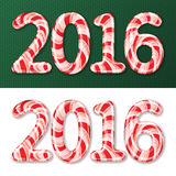 New Year 2016 candy cane. Candy cane numbers of 2016 new year holiday on green decorated pattern and white background. Vector isolated illustration Stock Image
