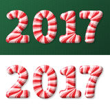 New Year 2017 candy cane Stock Image