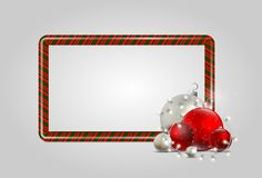 New Year candy frame with electric garland and Christmas decorat stock illustration