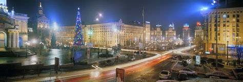 New Year in the capital of Ukraine - fog, rain Stock Images