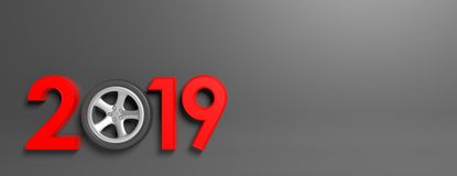 New year 2019 with car`s wheel isolated on gray background, banner, copy space. 3d illustration Stock Photos