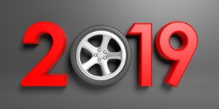 New year 2019 with car`s wheel isolated on gray background. 3d illustration Stock Image