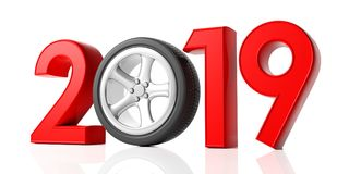New year 2019 with car`s wheel isolated on white background. 3d illustration. New year 2019 with car`s wheel and red digits isolated on white background. 3d stock illustration