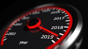 New year 2019 car speedometer. 3d illustration. New year 2019 car speedometer, red indicator on black blur background. 3d illustration vector illustration