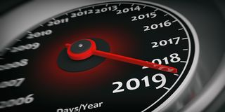 2019 new year. Car speedometer gauge closeup detail. 3d illustration. 2019 new year. Car speedometer gauge closeup detail, needle on 2019. 3d illustration Stock Photo