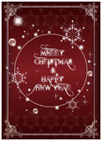 New year card. Happy new year and merry christmas card, illustration stock illustration