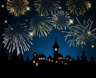 New Year card. Night village and fireworks Royalty Free Stock Images