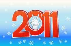 New year card. 2011 with little rabbit Stock Images