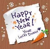 New Year card. New Year card from lucky Bunny Stock Photos