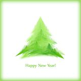 New Year card. With Christmas tree isolated on white Vector Illustration