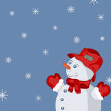 New Year card. New Year celebration card, smiling snowman Royalty Free Stock Photography
