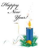 New Year card. With candle Stock Illustration