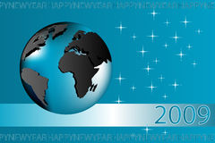 New yeaR card - 2009. New year 2009 card with globe, blue tones stock illustration