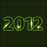 New Year card 2012. Green neon numbers Royalty Free Illustration