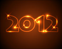 New Year card 2012. Golden / orange neon numbers Royalty Free Stock Photos