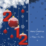 New year card 2012 in blue. New year card with stars in blue and fir branch silhouette and christmas decorations stock illustration