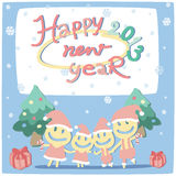 New year card 2013. With happy family Stock Illustration