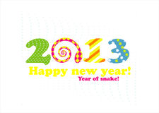 New year card 2013 with snake. New year greeting card 2013 with snake Royalty Free Stock Photography