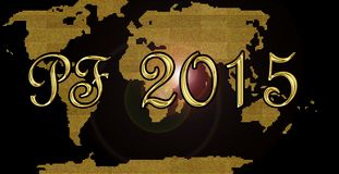 New year card 2015. Golden happy new year 2015 card Royalty Free Stock Image