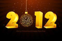New Year Card. Illustration of new year card with 2012 and hanging ball Royalty Free Stock Images