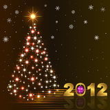 New year card. New year background with stylized Christmas tree and golden figure 2012 Stock Photos