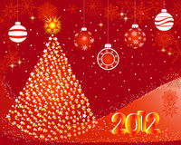 New year card. New year card with stylized Christmas tree and balls Stock Image