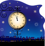New Year card. With retro street clock, falling snowflakes and silhouette of night town vector illustration