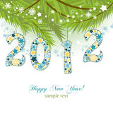 New year card. New year 2012 figures snowflakes pattern Stock Photography