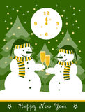 New year card. Pair of snowmen with glasses of champagne Royalty Free Stock Photo
