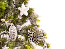 New year card. With decorations and fur-tree Stock Image