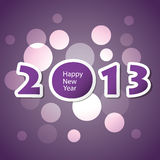 New Year Card. Purple and Pink Happy New Year 2013 Background, Card or Cover Design with Bubbles - Freely Scalable & Editable Vector Format Included Stock Photo