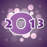 New Year Card. Purple and Pink Happy New Year 2013 Background, Card or Cover Design with Bubbles - Freely Scalable & Editable Vector Format Included Royalty Free Stock Photo